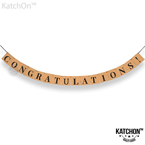 Congratulations Kraft Banner, Graduation Party Supplies - Classy Eye Catching Decor | Graduation Decorations| Graduations Banner Sign | For Achievement Party Celebrations, Retirement, Bridal Shower]()