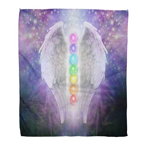 Emvency Throw Blanket Warm Cozy Print Flannel Angel Wings Chakras Darkness and Light Pair of The Seven Between Dark Blue Comfortable Soft for Bed Sofa and Couch 60x80 Inches