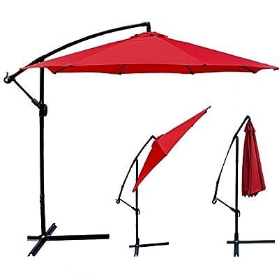 Red Patio Umbrella Offset 10' Hanging Umbrella Outdoor Market Umbrella D10