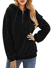 Bwiv Sweatshirt dames winter warm zacht hoodie meisjes pullover met capuchon pluizig teddy fleece wintertrui sweater lange mouwen capuchon oversized