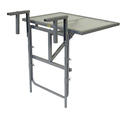 Balkonhängetisch 60x40cm, Stahl silber + Sicherheitsglas, klappbar