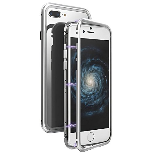 Clear iPhone 8 Plus Case, iPhone 7 Plus Case, LIGHTDESIRE Slim Frame [Magnetic Adsorption] Metal Bumper Case Tempered Glass Back Cover Case for iPhone 8 Plus/7 Plus (Silver) by LIGHTDESIRE