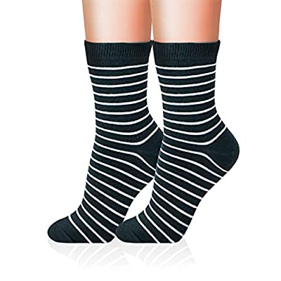 Kikiya Socks 4 Pairs of Womens Pattern Design Crew Socks All Thin Stripes B - Fun Fashion Print Cute Cool Assorted Aesthetic Stylish Trendy Soft Warm Calf High Sport Long Ladies Female Girl Power at Women's Clothing store