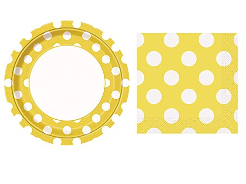 Unique Industries Yellow Polka Dot Paper Plates, 8ct with Yellow Polka Dot Beverage Napkins, 16ct -