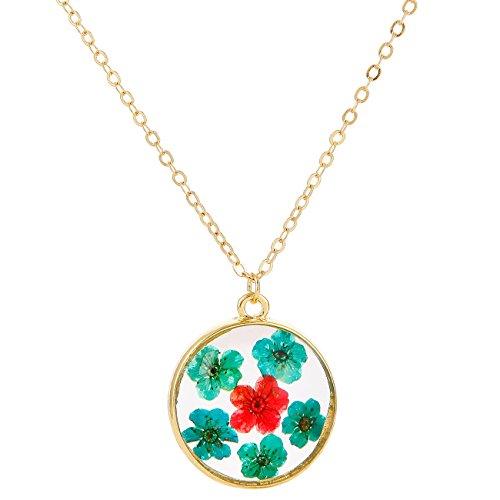 Resin Flower Necklace (RUXIANG Round Double Color True Flower Specimen Transparent Resin Pendant Necklace (gold))