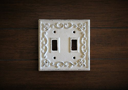 Antique Double Plate - Double Light Switch Plate/Antique White or Pick Your Color/Shabby Chic Style/Fleur de Lis Design