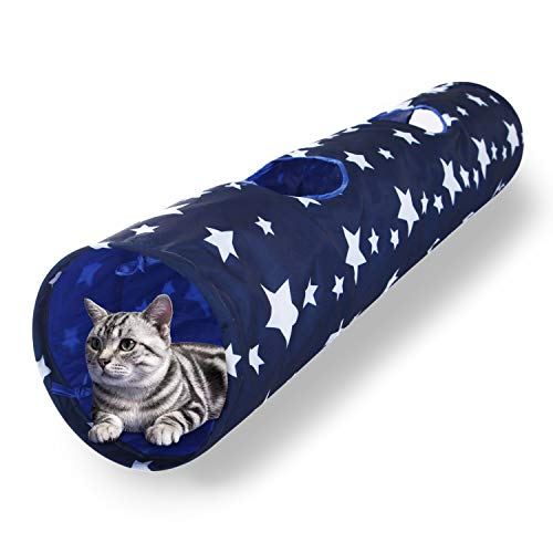 LUCKITTY Large Cat Toys Collapsible Tunnel Tube with Plush Ball, for Small Pets Bunny Rabbits, Kittens, Ferrets,Puppy…