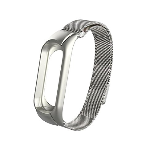 """Price comparison product image Boofab Milanese Magnetic Loop Stainless Steel Watch Band Strap For Xiaomi Mi Band 3,  Fits for 5.7""""-9.4"""" inches Wrist (Silver)"""