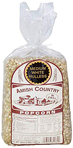 Amish Country Popcorn - Medium White Popcorn- 2 Lb Bag - Old Fashioned, Non GMO, and Gluten Free - with Recipe Guide and 1 Year Extended Freshness Warranty (2 Lb)