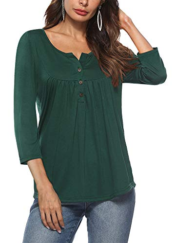 Finyosee Women's Henley V Neck, Three Button Up, Pleated Fit Casual Tunic Tops, 3/4 Sleeve Premium Blouses Shirt