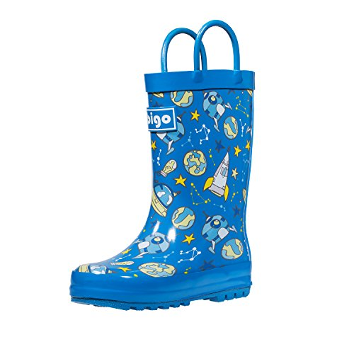 hibigo Childrens Natural Rubber Rain Boots with Handles Easy for Little Kids & Toddler Boys Girls, Space