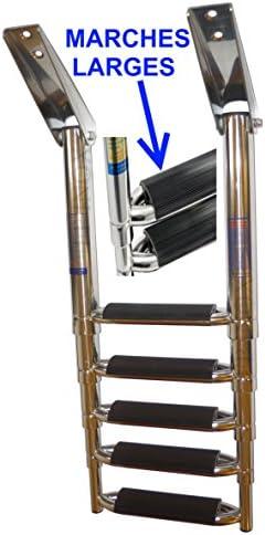 Escalera telescópica inoxidable 316 barco 5 peldaños (peldaños extra anchos para plataforma Inox 316 – A4: Amazon.es: Deportes y aire libre