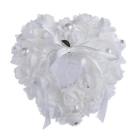 Amazon.com: Anillo con forma de corazón, almohada de perlas ...