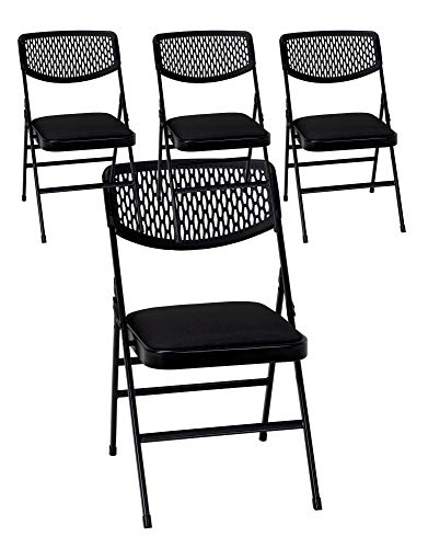 Cosco Fabric Padded Seat - Cosco Commercial Fabric Folding Chair, 4 Pack, Black