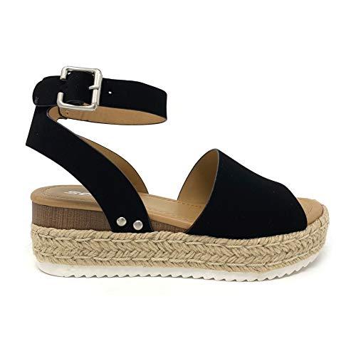 SODA Topic Topshoe Avenue Women's Open Toe Ankle Strap Espadrille Sandal (8.5 M US, Black)