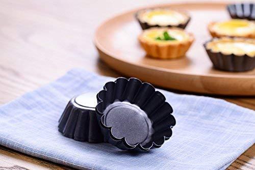 Bakerdream Mini Round Nonstick Tart Pan, Tartlet Mold, Egg Tart Tin, Muffin Cake Mould 12PCS ()
