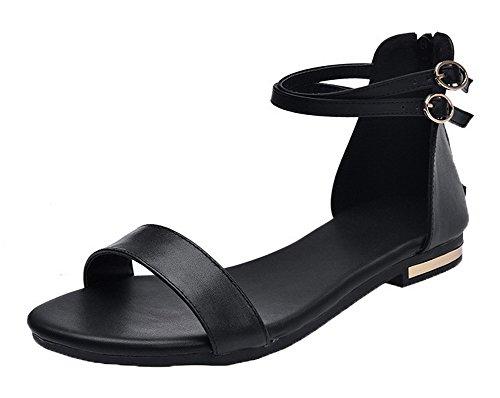 VogueZone009 Women Zipper Pu Open-Toe Low-Heels Solid Sandals Black