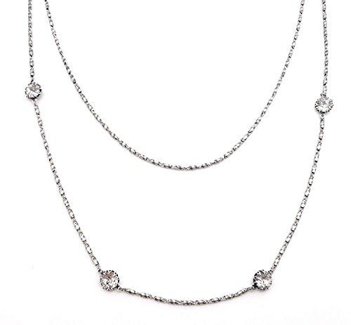 Catherine Popesco Nice Clear Crystal Swarovski Dbl Strand Silver Plated Necklace
