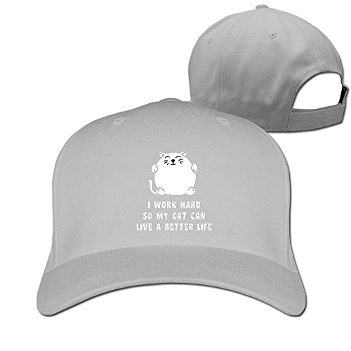 Custom Costumes Edmonton 2016 (Runy Custom I Work Hard So My Cat Can Live A Better Life Adjustable Hunting Peak Hat & Cap Ash)