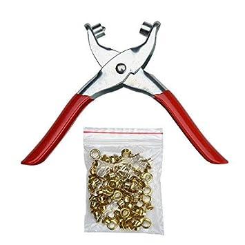 Anlin - Alicates para remaches de 15,2 cm con cierre y remache de 100 remaches para perforar cinturón de cuero: Amazon.es: Oficina y papelería