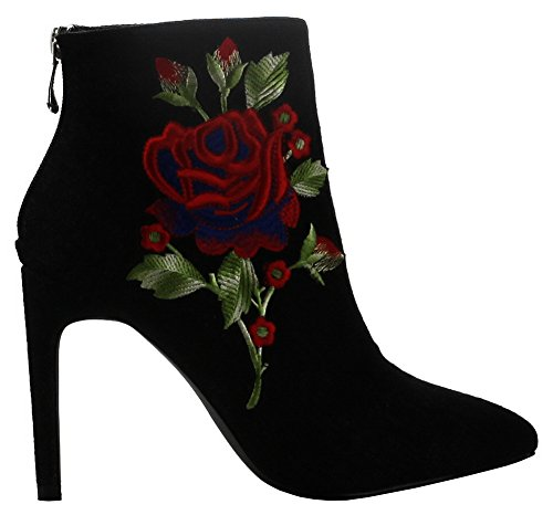 CAPE ROBBIN Womens Closed Pointed Toe Embroidered Stiletto Heel Ankle Bootie Black V9r8btE0