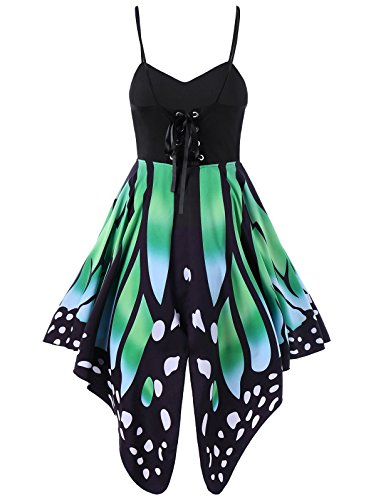 Aro Lora Women's Butterfly Printed Lace up High Waist A Line Irregular Swing Dress Small Green]()