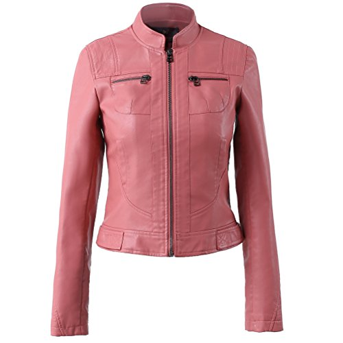 LLF Women's Faux Leather Simple Moto Biker Jacket Medium (Label 46) Pink (16b1623)