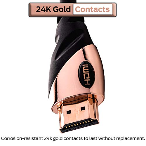 Monster 6ft HDMI Cable 4k Ultra HD with Ethernet Cord - 60/120 Hz Refresh Speed - 21Gbps High Definition 1080p Video - Corrosion-Resistant 24k Gold Contacts
