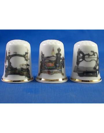 Colección de dedales de porcelana china, con diseño de má