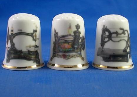Colección de dedales de porcelana china, con diseño de máquinas de ...