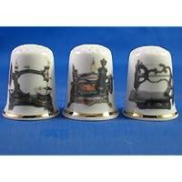 Colección de dedales de porcelana china, con diseño de máquinas de coser antiguas, juego