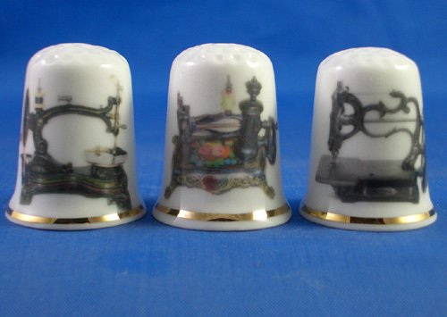 Porcelain China Collectable Thimbles - Set of Three Vintage Sewing Machines
