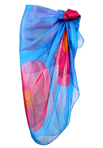 CHIC DIARY Women Chiffon Pareo Beach Wrap Sarong Swimsuit Scarf Cover Up for Vacation (Sea Lavender+Blue(76.8