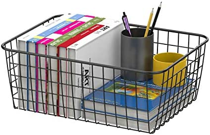 Wire Storage Basket, Packism 4 Pack Metal Household Storage Organizer Wire Pantry Basket, Wire Baskets for Freezer, Kitchen Cabinet, Bathroom, 2 Sizes, Black