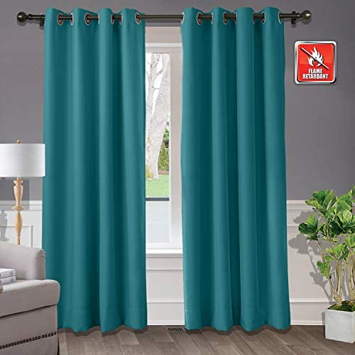 Macochico Extra Wide Blackout Flame Retardant Curtains and Drapes