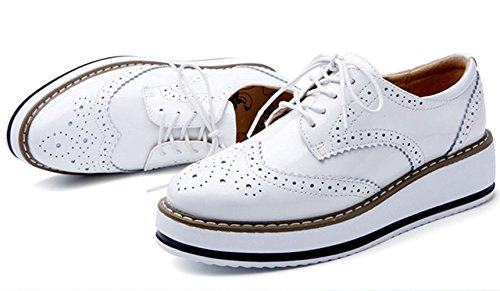 Lacets Baskets Cuir de à Ville Brogues Chaussures Femmes DADAWEN Plateforme Derbies zCnxYBqw