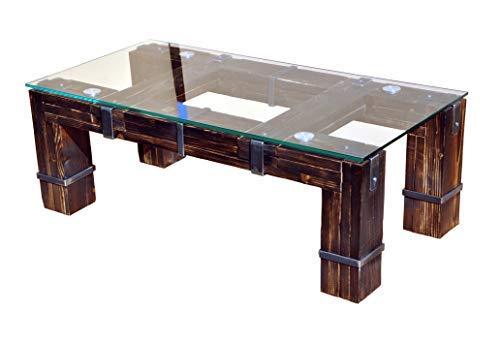 CHYRKA® Couchtisch Wohnzimmertisch DROHOBYCZ Loft Vintage Bar IndustrieDesign Handmade Holz Glas Metall (120x60 cm)