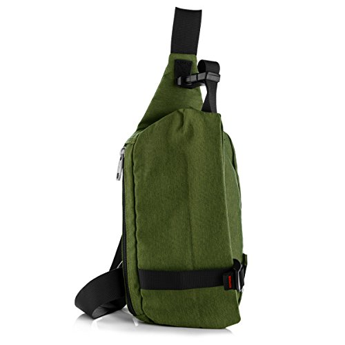 Price comparison product image LC Prime Sling Bag Chest Pack Unbalance Backpack Casual Crossbody Shoulder Bag Rucksack Water Resistant for Travel Outdoor Cycling oxford nylon green,  by