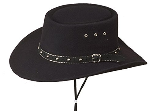 Sunrise Outlet Black Faux Felt Gambler Hat - 7 -