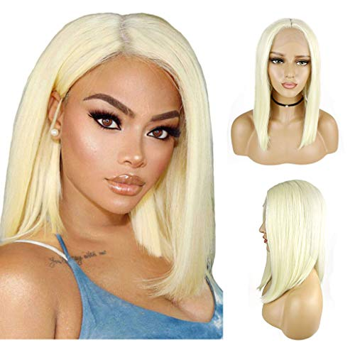 SOOTOP Women's Gold Short Bob Hair Straight Natural Style Wig Fluffy Lace Front Wig Women Girls Heat Friendly Synthetic Cosplay Party Hair Extensions