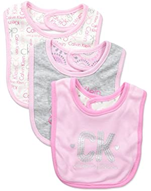 Baby-Girls Newborn 3 Pack Bibs Pink and Gray