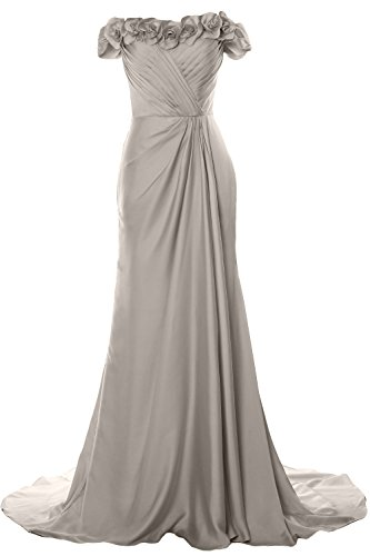 Prom Off MACloth Evening Gown Silber Flowers Long Dress Women Formal with Shoulder 2018 nYYpqwTH5