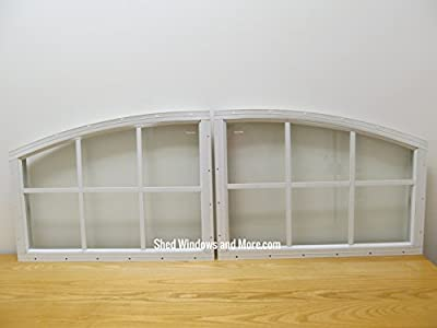 Arched Transom Shed Windows Set of 2 White Playhouse Storage Shed Outdoor Building
