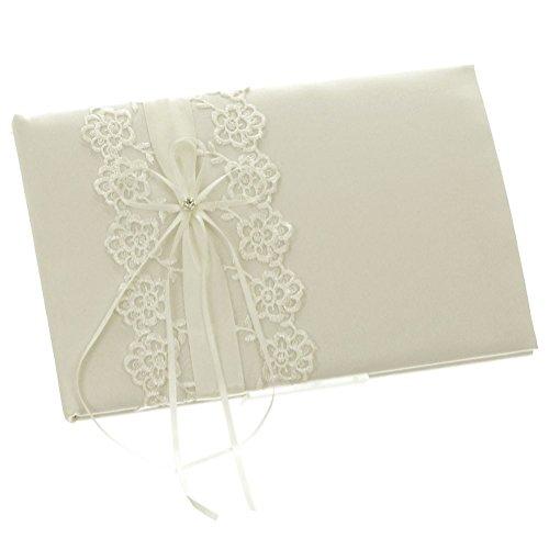 DivaDesigns Floral Lace Organza Wedding Guest Book (Lace Wedding Guest Book)