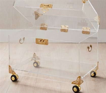 Ciao Bella Acrylic Trunk - Rustic Brass with Wheels - Brass Trunk