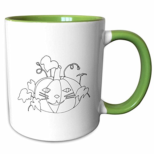 3dRose CherylsArt Holidays Halloween - Outline drawing of a pumpkin with a cute cat face for Halloween - 15oz Two-Tone Green Mug -