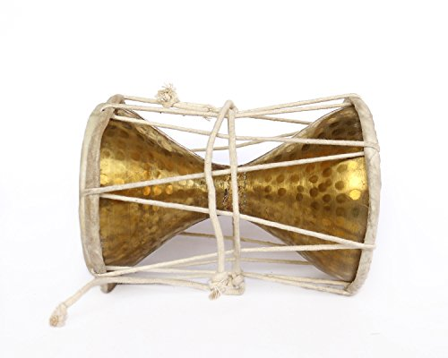 De Kulture Works Hand Hammered Brass Damru Medium Percussion Instruments/ Hand Drum / Handheld Drum 6X8 DH (Inches) For Home & Temple Ideal For Valentine Gift Ideas Easter Decorations (Gold)
