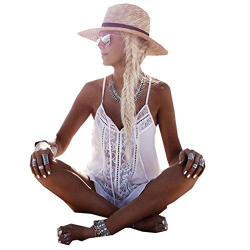 Pengy Women Summer Sleeveless Boho Lace Chiffon White Casual Vest Tank Tops Blouse T-Shirt Women Beach Wear (White, M)