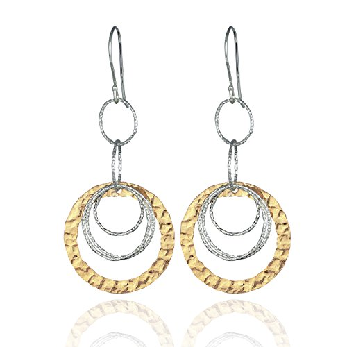 Two Tone Multi Hoop Dangle Earrings 925 Sterling Silver and 14k Gold Filled Circles Earring