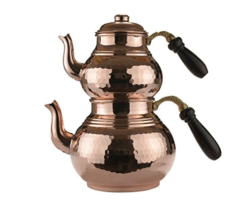 (MisterCopper Heavy Gauge 1MM Thick Handmade Copper Tea Pot Set Stovetop Teapot Set (Hammered 2.8-Quart))